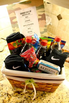 Thank you baskets for the groomsmen! Cuz the boys need some love too! So cute!