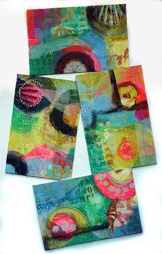 Abstrakte Mischtechnik Original Malerei Collage von DancingGirlArt
