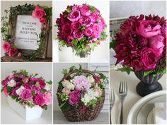 こっくりと深いワインカラーのダリアや濃いピンクのバラを合わせた秋冬の会場装花。 ブラックベリー等の美味しそうな実も加えてジューシーな雰囲気に。 少ない花の種類で同系色でまとめたデザインはパリでも人気のスタイル。 アンティーク風のダークな器やフレームが花を引き立てて、大人っぽい印象もプラス。  ◆  kukka design ◆ 東京・三軒茶屋にあるウェディングフラワーのオーダーメイドアトリエ http://www.kukka-flowers.com