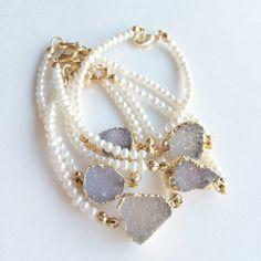 Freshwater Pearl & Druzy Bracelet - Elizabeth Stone Jewelry