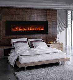 """Modern Flames AL80CLX 80"""" Built in / Wall Mounted Electric Fireplace is the next generation of modern electric fireplaces. With the same realistic flame pattern, these models are packed with extra features including recessed or wall mount installation, LED Flame Technology, high-tech touch screen controls, and customizable media. This beautiful and functional electric fireplace will conveniently fit into any room or setting."""
