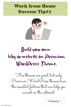 Work from Home Success Tip:  Build Your Own Blog or Website using a premium WordPress Theme.  There is always one for your niche!   See gallery - http://zigzagpress.com/themes/