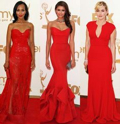 Some of Hollywood's best actresses broke out in scarlet fever at the 2011 Emmys. Kerry Washington (in Zuhair Murad), Nina Dobrev (in Donna Karan) and Kate Winslet (in Elie Saab) all wore bold red on the carpet -- with stunning results.