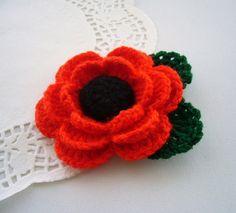 Crochet Red Poppy Flower Corsage Brooch by CraftsbySigita on Etsy,
