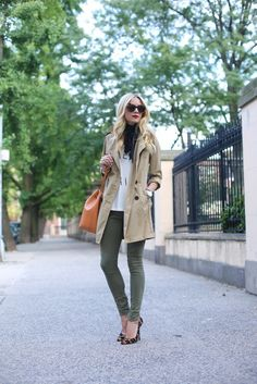 White Tee, Classic Trench, Black Scarf, Sunglasses, Green Skinnies and Leopard Heels.