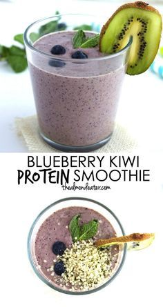 A smoothie recipe with natural protein thanks to the hemp seeds! Blueberry and kiwi pair so well together too! #vegan
