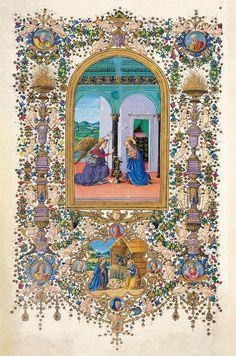 Biblioteca Medicea Laurenziana i manoscritti miniati del '400 fatti realizzare da Lorenzo il Magnifico come doni nuziali per le tre figlie  UN FOGLIO DEL LIBRO D'ORE per  Luisa de' Medici