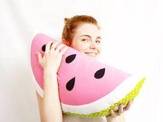 watermelon pillow stuffed watermelon fruit by LoveColorsByJulianna