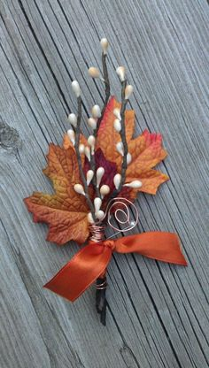 Fall #wedding boutonniere made from maple leaf & twigs. Get inspired at diyweddingsmag.com #diyweddings