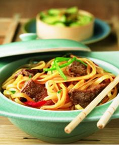 """BANGKOK BEEF & BASIL: 1½ lbs beef round/sirloin tip center steaks cut 1"""" thick OR beef shoulder top blade steaks/flat iron, ¼ + ½ C teriyaki sauce, 3 T fresh lime juice, 2 t red curry powder, 7-oz pkg dried rice noodles, 1 C thinly sliced red bell pepper strips, 1 C thinly sliced fresh basil, ½ + ½ C thinly sliced 3⅛"""" green onion strips, Black pepper • See Page for Directions!!"""