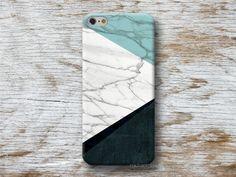 Phone Cases – White Marble Print Blue Triangle Phone Case i5 i6 – a unique product by michaelcase via en.DaWanda.com