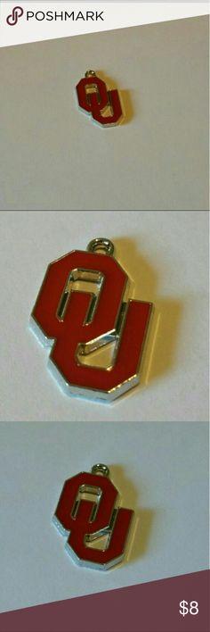Oklahoma Sooners Charm 1 piece  enamel antique silver plated single-sided Oklahoma Sooners charm Jewelry