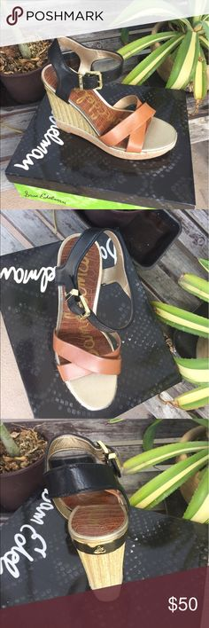 Sam Edelman Criss Cross Band Leather Wedge sandal Brand new in box 📦. Colorblock, gold tone hardware, raffia and cork trim, metal accent in heel, cork wedge. 5 in. Heel. Open toe, ankle strap closure, leather upper, man made sole, imported. Sam Edelman Shoes Wedges