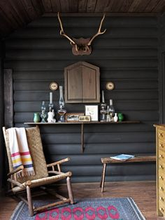 Inside a Sophisticated Michigan Cabin - Cabin Decorating Ideas – Log Cabin Interior Design – Country Living. Hudson Bay Blanket and a - Log Cabin Exterior, Log Cabin Decor, Home Decor, House Interior, Cabin Design, Home Interior Design, Interior Design, Cabin Interior Design, Modern Cabin Decor