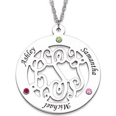 Mothers Necklace with Kids Names - love this cute monogram necklace!  Add up to 4 kids names and birthstones on the outside.