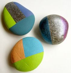 HOW TO  PAINT  ROCKs   USING MASKING  TAPE to paint Rocks Painting Rock & Stone Animals, Nativity Sets & More: Painted Rocks: No Drawing Skills Required
