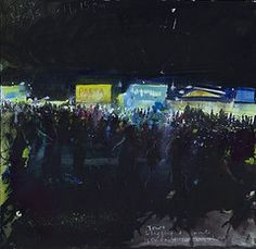 a painting of Glastonbury festival by Kurt Jackson Kurt Jackson, A Level Art, Environmental Issues, Zoology, Live In The Now, Large Canvas, Natural History, Stalls, Sketches