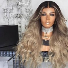 natural colormix blond long wavy synthetic wigs middle parting for women Short Hair Wigs, Long Wigs, Long Curly Hair, Human Hair Wigs, Curly Hair Styles, Natural Hair Styles, Curly Wigs, Long Hair With Curls, Blonde Wig
