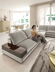 Helmut by Longhi Corner Sofa Design, Sofa Bed Design, Living Room Sofa Design, Living Room Modern, Living Room Designs, Lounge Furniture, Luxury Furniture, Furniture Design, Glamour Living Room