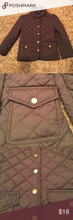 Girls Ralph Lauren brown Quilted coat 5 Pristine condition...can't tell it's ever before been worn....brown... Quilted... snap button front... two front snap button pockets... Sz 5....100%poly... staple piece...100% poly fill.... Corduroy lining at bottom... flip down collar...gold hardware.... Ralph Lauren Jackets & Coats