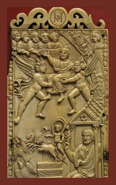 Ascendit Petrus! This ivory is a rare survival as most depictions of the Ascension of St Peter were destroyed after the condemnation of the doctrine by the Third Council of Antioch. The ivory is in the British Musem.