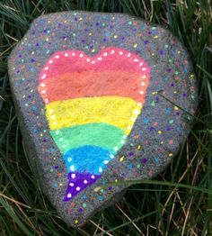 Rainbow Heart Design Painted on a Sea Stone by AlicePlusMary