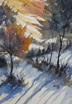 Beautiful winter landscape watercolor!