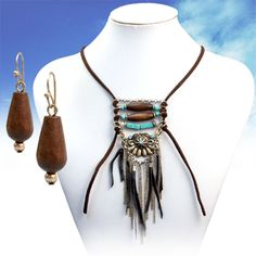 "COWGIRL Bling Southwest Tribal Leather Fringe Western Gypsy 26"" NECKLACE set #davinci"
