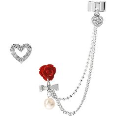 Betsey Johnson Ear Cuff With Rose And Chain ($28) ❤ liked on Polyvore featuring jewelry, earrings, ear cuff, crystal, heart stud earrings, plastic post earrings, betsey johnson earrings, ear cuff earrings and earring charms