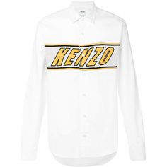 Kenzo logo embroidered shirt ($240) ❤ liked on Polyvore featuring men's fashion, men's clothing, men's shirts, men's casual shirts, white, mens long sleeve collared shirts, mens white casual shirt, mens cotton shirts, mens shirts and mens white cotton shirts
