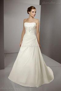 Robe de mariée naturel bustier de plissé manche nulle avec perle de bustier - Photo 1