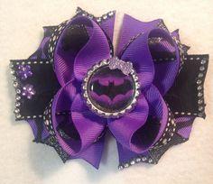 Batgirl Hair Bow/Batman Inspired Bow/Purple Batman Bow/Purple Bat Girl Hair Bow/Girly Curl Bow/Superhero Birthday Party Batgirl Hair Bow by GirlyCurlBowtique on Etsy