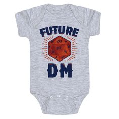 Future DM - Show the world your sinister spawn isn't just a nerdy baby with table top geek parents, they're a future dungeon master! This nerdy one piece is perfect for proud tabletop nerd parents looking to raise the most devilishly perfect DnD campaign manager to ever roll a dice!