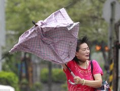 A woman clings on to her umbrella amid powerful winds in Taipei. The Tropical Storm Risk w. Eye Of The Storm, Taipei, Drawstring Backpack, Tropical, Umbrellas, Bags, Woman, Handbags, Women