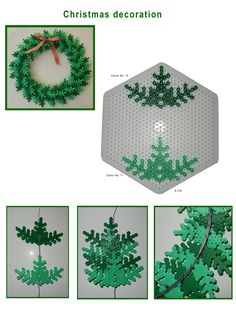 DIY Christmas Hama perler wreath pattern, From Hama. -More Christmas perler decorations! I promise to find some halloween ones! Hama Beads Design, Diy Perler Beads, Hama Beads Patterns, Perler Bead Art, Beading Patterns, Noel Christmas, Christmas Crafts, Christmas Decorations, Xmas