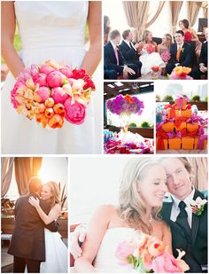 Gorgeous bright orange and pink bouquet!  Wedding Venue: Thompson Hotel Sneak Preview
