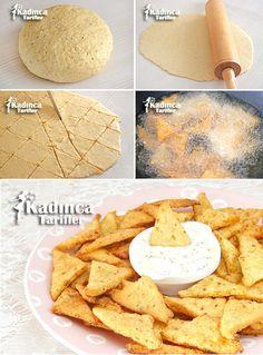 Doritos Tadında Dough Fries Recipe, How to Make, Cookie Recipes Doritos, Avocado Dessert, Fried Dough Recipes, Pasta Recipes, Good Food, Yummy Food, Tapas, Breakfast Items, Turkish Recipes