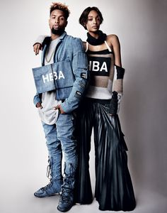 Shayne Oliver of Hood by Air - Odell Beckham, Jr., wears a Hood By Air denim jacket ($1,375) and jeans ($1,055). Jourdan Dunn wears a Hood By Air mohair sweater ($770) and leather cargo pants ($1,790). Hair: Akki; Makeup: Dotti; Fashion Editor: Tabitha Simmons