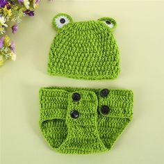 Cute Frog Newborn Crochet Outfits Warm Set Cap Boy Cap Girl Hat Baby Cap Baby Hat For Infant Newborn Photography Prop Fotografia