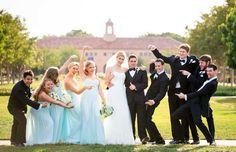 Fun Wedding photos idea for uneven male/female wedding party.