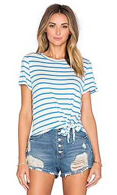 amour vert Julita Short Sleeve Tie Tee in Ocean Stripe