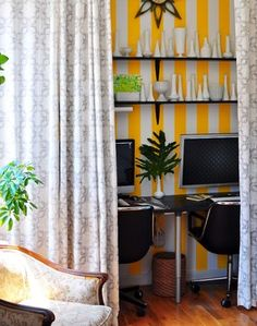 coordinate office with rest of room. Love the bright stripes. Harlem Apartment - Home Office - eclectic - home office - new york - Frisson Home Office Space, Small Office, Bedroom Office, Home Office Design, Closet Office, Office Nook, Room Closet, Office Spaces, Shared Office