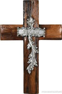 New Believe Silver Wall Cross Wood 10x14 Inspirational Plaque Western Home Decor | eBay