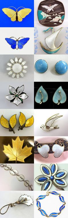 Norwegian Enamels Bloom In The Spring #Vogueteam #Voguet. These are some of the wonderful finds you will find in the Vintage Vogue Team shops. You may search by vogueteam to find the shops and items. Celebrating Anna of baublology Curator: Gena Lightle from https://www.etsy.com/shop/Kissisjustakiss?ref=pr_shop_more