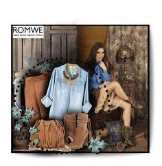 """Romwe - Denim Blouse"" by wish85 ❤ liked on Polyvore featuring Michael Kors, Rebecca Minkoff, Ruby Rocks, denim, boho, romwe, Bohemian and DenimStyle"