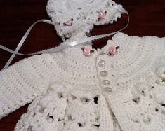 Baby girl sweater and hat, pink baby girl sweater, baby sweater, sweater hat booties Cotton Crochet, Crochet Baby, Crochet Bikini, Crochet Top, Lace Toddler Dress, Baby Dress, Baby Girl Sweaters, Sweater Hat, Baby Christening