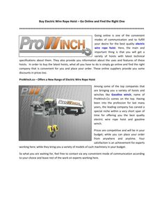 ProWinch.co – Offers a New Range of Electric Wire Rope Hoist