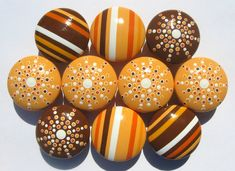 Striped, Spotted and Dotted Hand Painted Drawer Knobs - Light Orange, Burnt Orange, Chocolate Brown, White, Set of 10
