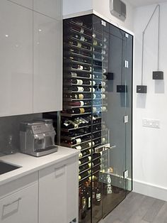 Look around a plethora of violet shelf styles, along with surface affixed wine racks and individual wine flask pockets. Glass Wine Cellar, Home Wine Cellars, Wine Cellar Design, Wine Cellar Modern, Küchen Design, House Design, Deco Design, Home Bar Designs, Wine Display