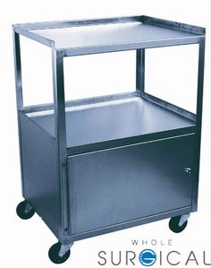 Ideal Medical Products - 7025A - Cabinet Cart  St/S 3-Shelf Single Locking